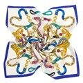 Mosoga Novas Mulheres Lenço De Seda Da Marca de Luxo Clássico Chain link Imprimir Pequeno Quadrado MuslimTurban Ladies Professional Cetim de Seda Envoltório