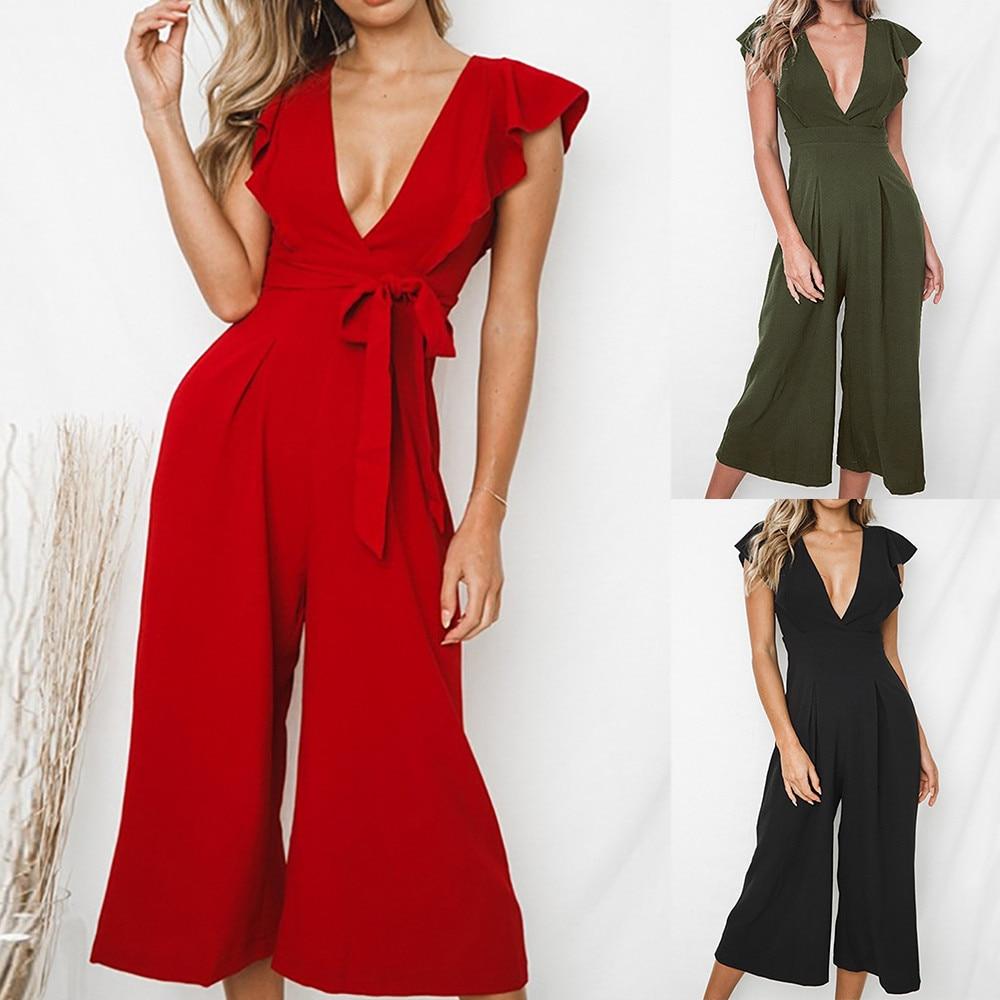 CHAMSGEND   jumpsuit   2018 New Fashion Women Sexy Deep-V Rompers Solid Short Sleeve Ruffles Long   Jumpsuit   + Belt July10