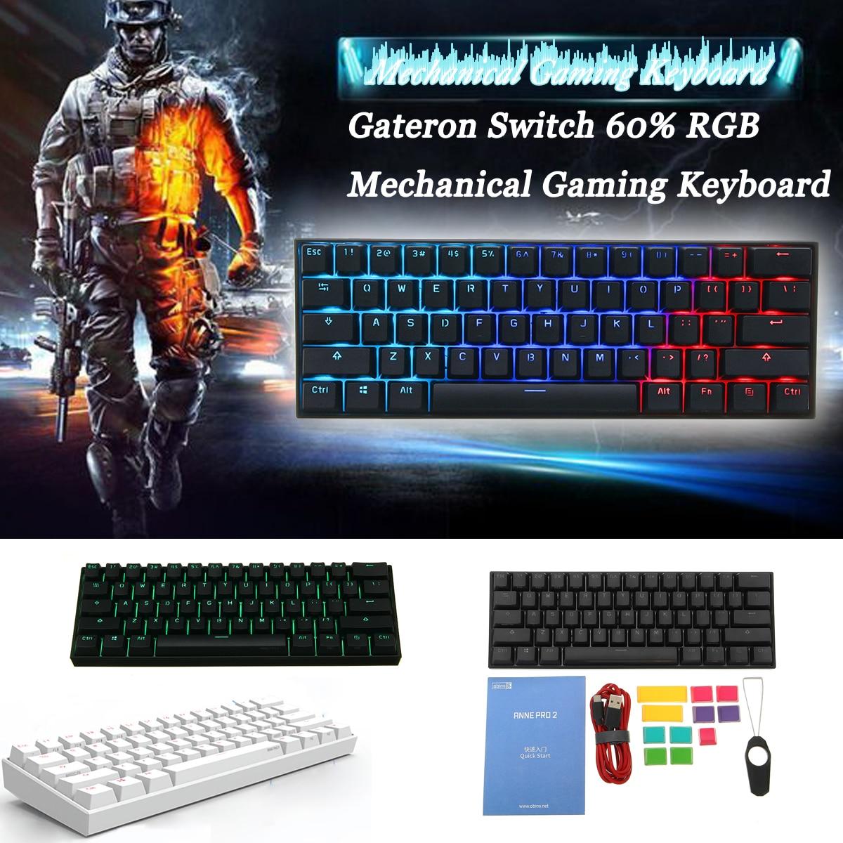 [Переключатель Gateron] Obins Anne Pro 2 60% NKRO Bluetooth 4,0 type-C RGB Механическая игровая клавиатура