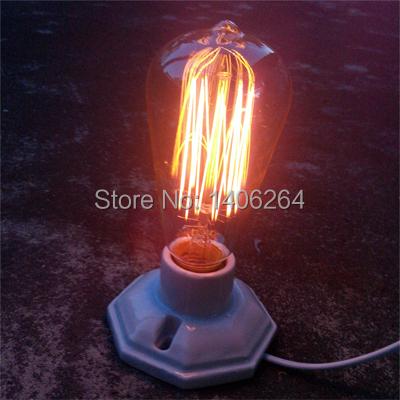 Edison Industrial Simples Estilo Vintage Decoração Cerâmica lâmpada de Mesa de Luz Mesa de Café Bar Club Bar Café Quarto lâmpada de Cabeceira