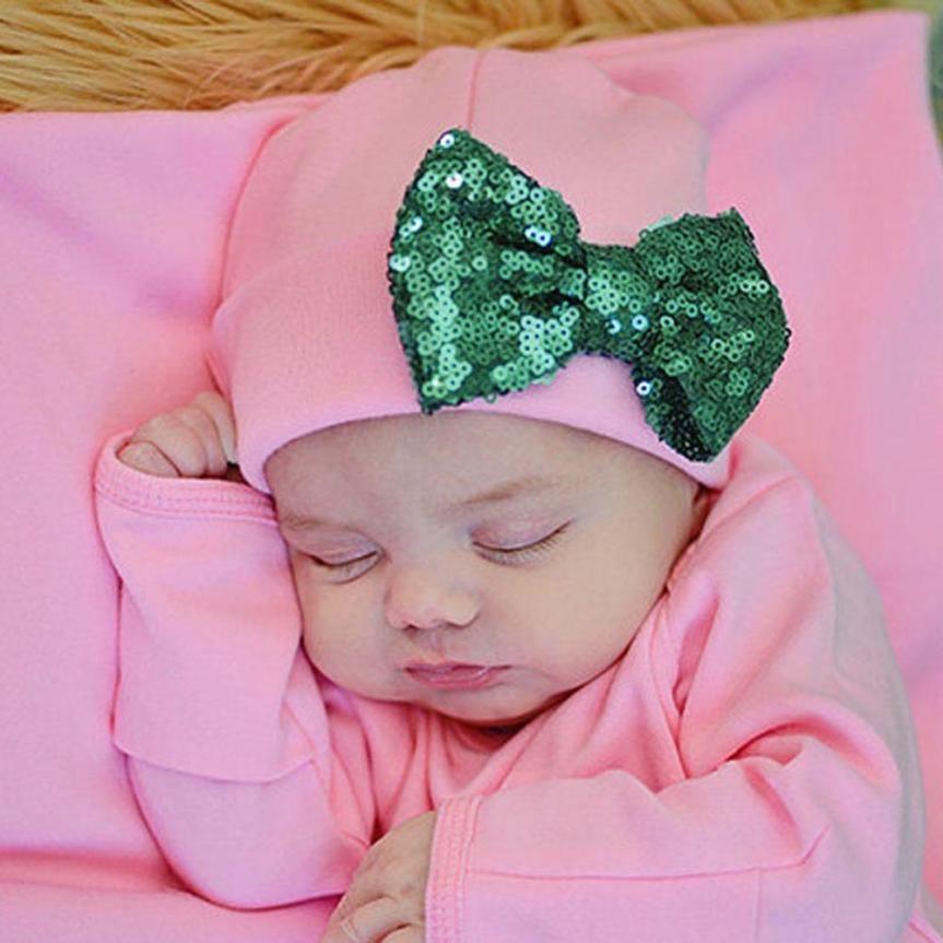 Baby Girls Boys Paillette Cotton Beanie baby Bowknot kids Toddlers Soft Cotton Sleep Cap Headwear Hats Cap Children Accessories