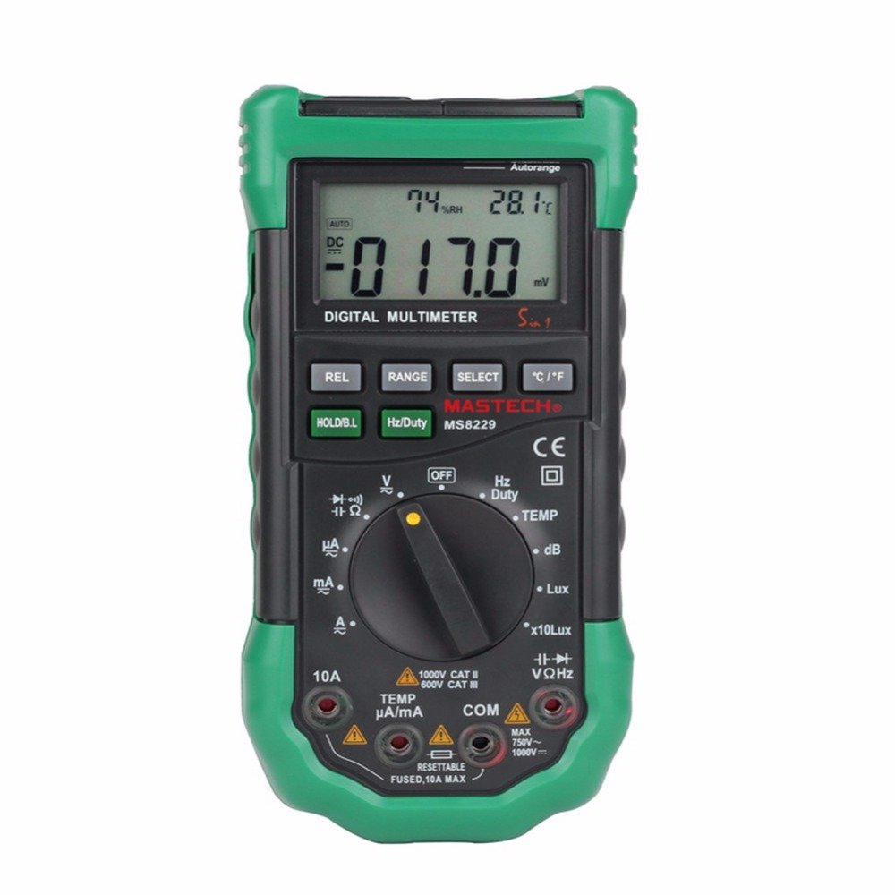MS8229 5 in1 Auto range Digital Multimeter Multifunction Lux Sound Level Temperature Humidity Tester Meter digital indoor air quality carbon dioxide meter temperature rh humidity twa stel display 99 points made in taiwan co2 monitor