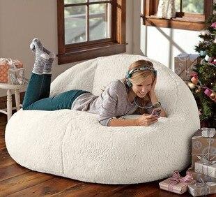 Qualité supérieure Agneau Velours Lits Pouf Paresseux Siège chaise d'ordinateur sac de fèves Transat Salon Meubles Canapé Chaises 2 Taille