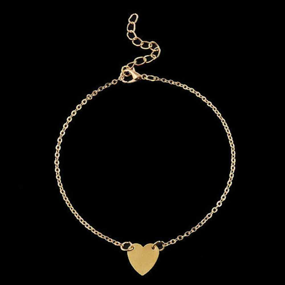 Moda zwięzłe w kształcie serca kobiece obrączki boso szydełkowe sandały biżuteria na stopy nogi Anklet bransoletki dla kobiet łańcuch nogi