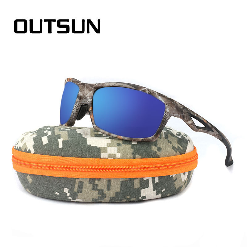 OUTSUN Men Sunglasses Night Vision Polarized TR90 Camo Frame Brand Designer Male Polaroid Sun Glasses Camouflage Case