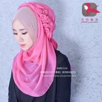 Muslim Women Silk Beading Flowers Headscarf High Quality Head Full Coverings Hijab Islam Girl's Cap KMS1506