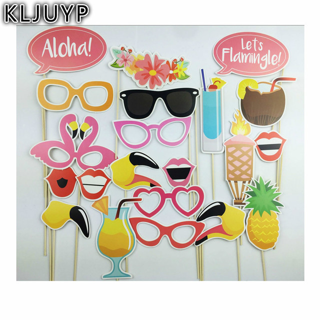 KLJUYP Beach Vacation Photo Booth Props Photobooth Wedding Favors Glasses  Paper Card Funny Mask Party Decoration