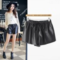XJ151186   New Fashion Ladies Elegant  shorts elastic waist elastic waist perforated PU leather shorts  female casual shorts