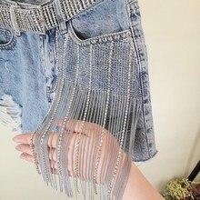 2019 summer new fashion jeans shorts wide-leg heavy work women hot drilling tassel hole