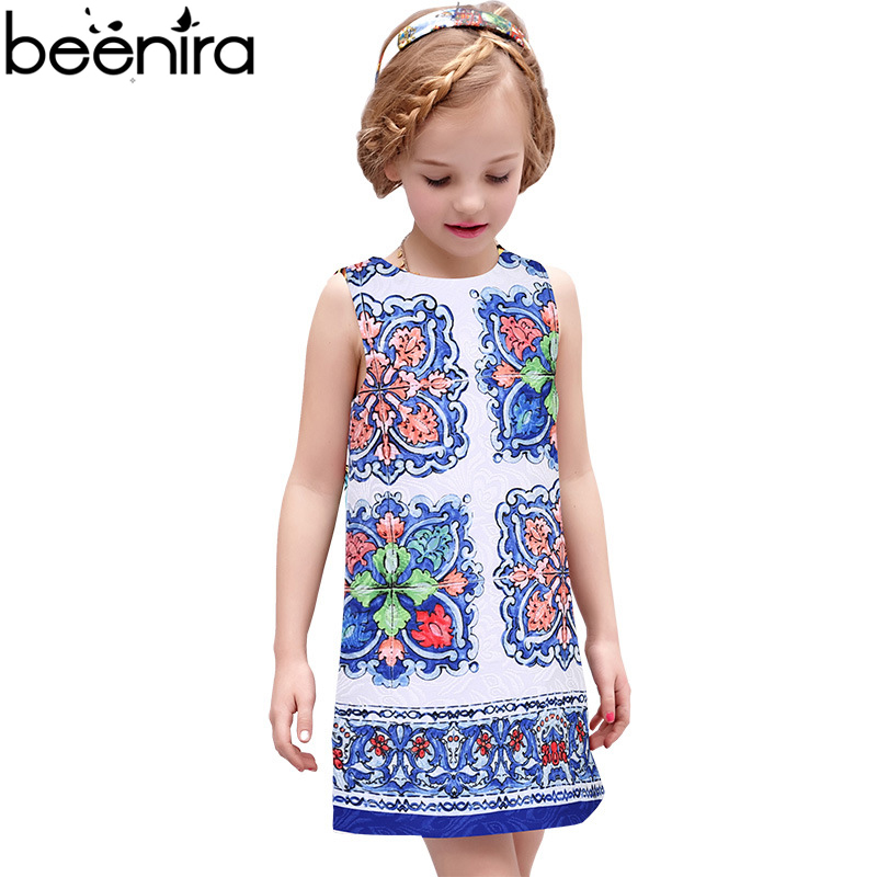 BEENIRA Summer Girls Dresses Children Blue and White Porcelain Print Baby Vest Slim Clothing for Party High Quality
