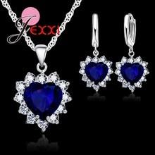 Настоящий 925 пробы, серебряный, Романтический, модный, сердце, кубический цирконий, ожерелье, кулон, Комплект сережек для женщин, женское ювелирное изделие, подарок