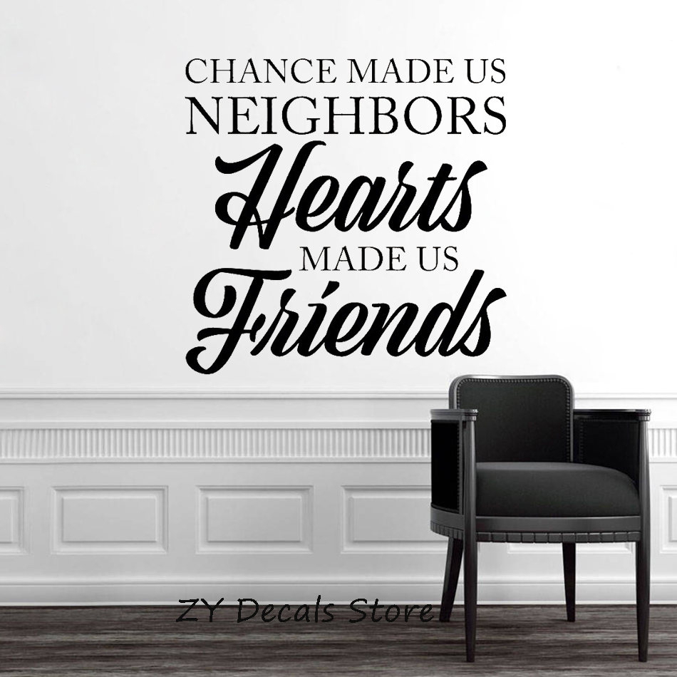 Inspiring Wall Sticker Quote Chances made us Neighbours Art Living Room Decor Removable Vinyl Wall Decal Bedroom Office S634