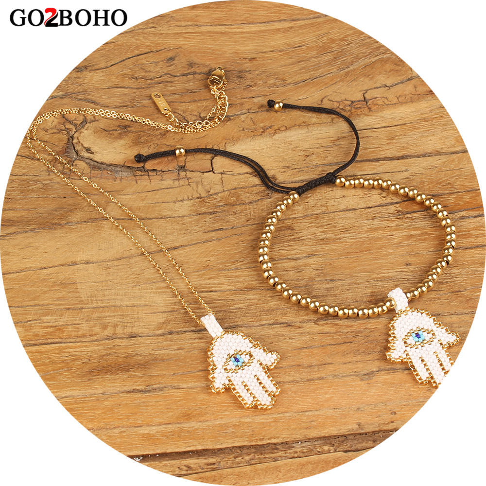 Go2hobo Dropshipping Evil Eye Bracelet Hamsa Hand Jewelry Set Women MIYUKI Seed Beads Gold Chain Necklace Handmade Delicas Gift