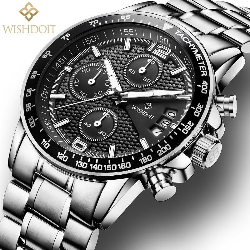WISHDOIT Mens Sports Watches Top Brand Luxury Quartz Watch Date Clock Fashion Casual Watch Men Military WristWatch Relogio Man цена