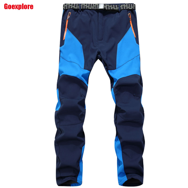 Winter Men Outdoor Hiking Camping Pants New Brand Waterproof Windbreaker Trousers Male Inner Fleece soft shell pants купить