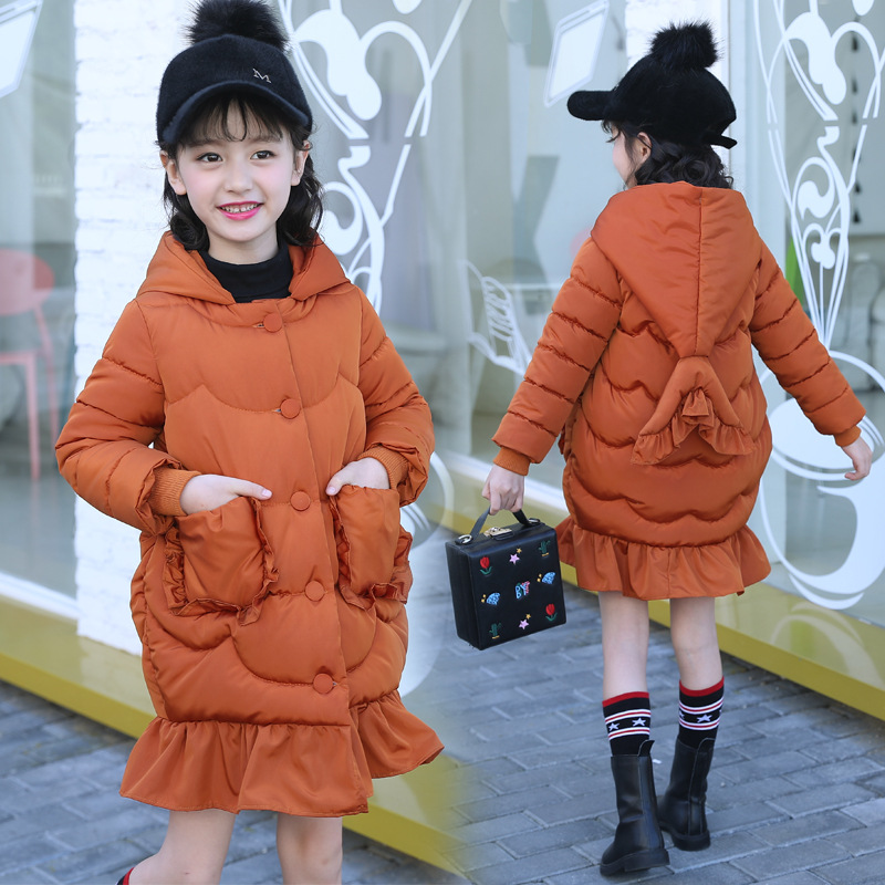 3-13T Girls Hooded Warm Jackets Fashion Sweet Solid Children's Parka Down Cotton-wadded Jacket Thickening Fishtail Hooded Coat olgitum 2017 women vest jackets new fashion thickening solid casual cotton fashion hooded outerwear