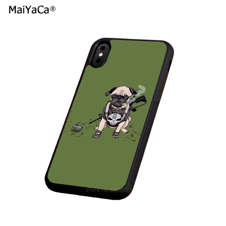 pug dog animale soft edge phone case for iphone x 5c 5s se 6 6s 6plus 6splus 7 7plus 8 8plus hight quality silicone cover case