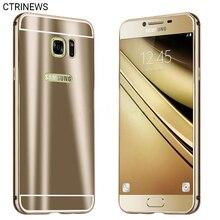 Чехол для Samsung Galaxy S7 край S7 Роскошные Алюминий металлический бампер Рамки + зеркало ПК задняя крышка для Samsung Galaxy C5 C7 чехол для телефона