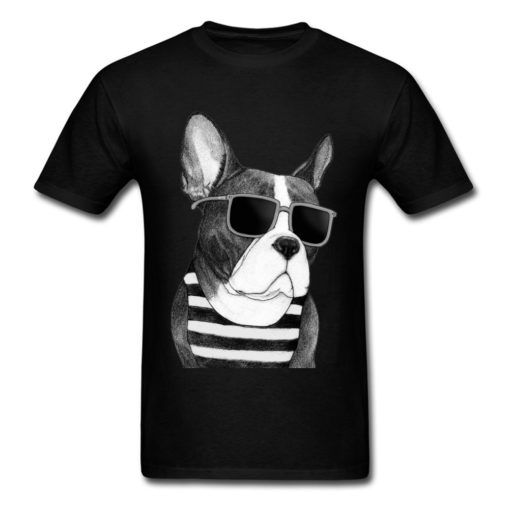 Trendy Movie Frenchie Bulldog Men Black T-shirt Summer Stylish Cartoon Painting Classic  ...