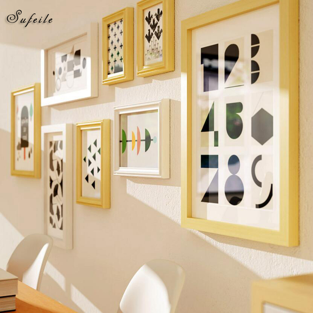 SUFEILE 8pcs Solid wood European frame creative combination frame wall decoration pendant living room bedroom photo wall D20
