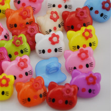 100pcs 14mm Mix Color bow hellokitty plastic buttons DIY crafts sewing accessories декоративная ручка hellokitty
