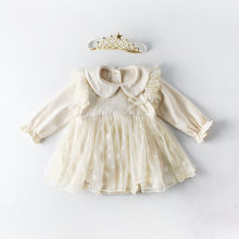 2019 Spring Baby Girl Dress Clothes Infantil Long Sleeve Newborn 1st Birthday Dress for Girls Cotton Star Mesh Bodysuit Dress(China)