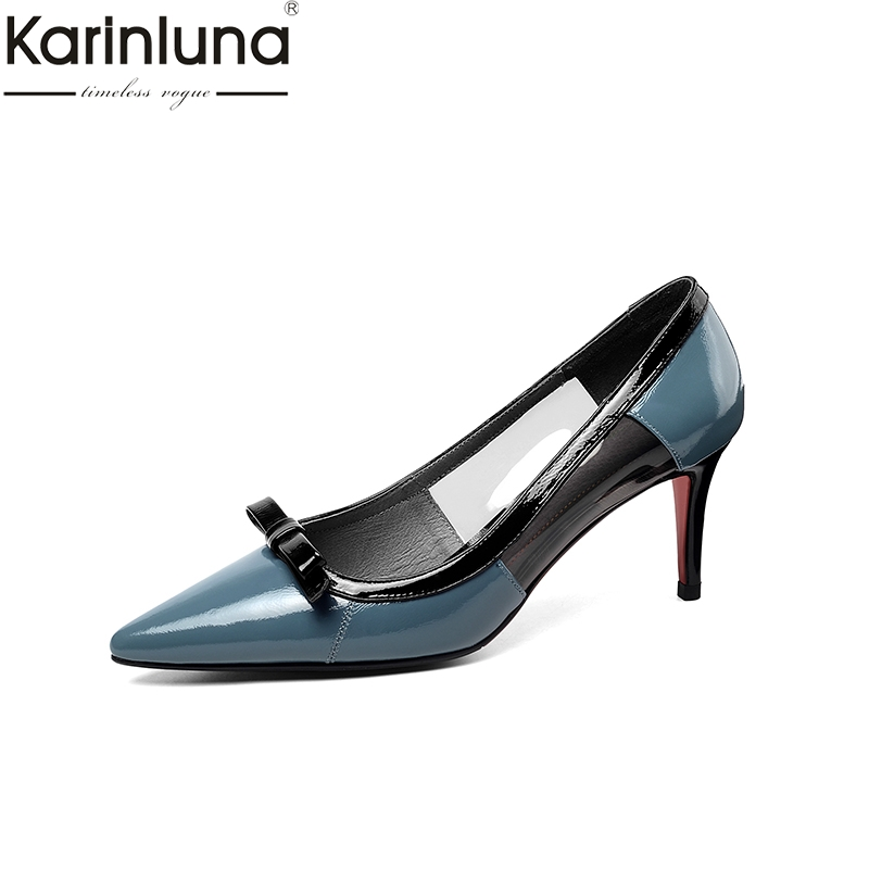 KarinLuna Sexy Thin Heels Genuine Leather Pointed Toe Chic Style 2019 Brand New women s Pumps