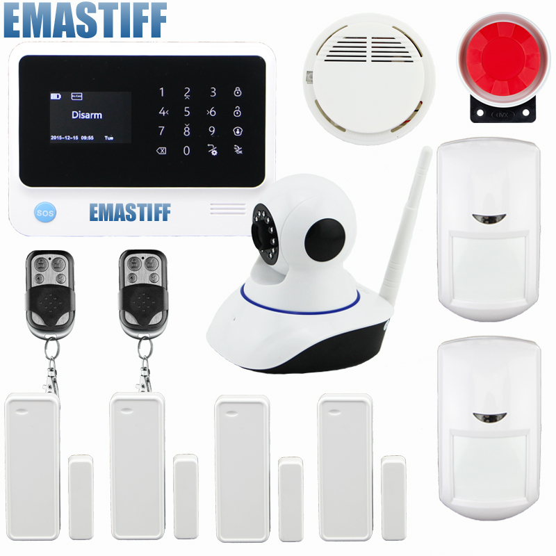 GSM+ Wi-Fi+GPRS GS-G90B Wireless Wifi GSM Home Security Alarm System Touch Screen IOS Android APP+wireless ip camera wireless smoke fire detector for wireless for touch keypad panel wifi gsm home security burglar voice alarm system