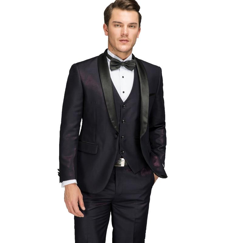 Purple Suits For Men 2017 Latest Coat Pants Vest Designs Shiny Groom Wedding Suit Dress Italian Prom Party Wedding Dress Man