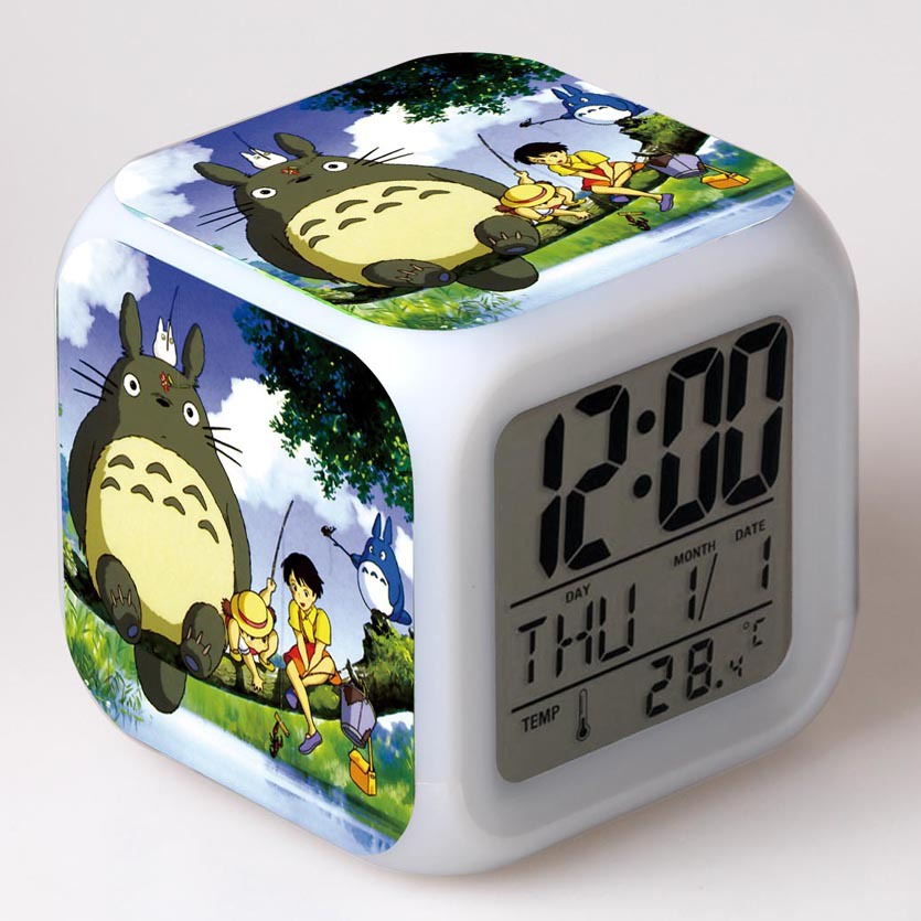 Movie Totoro Alarm Clock Accessories Digital LED Desktop Clock Totoro Patrulla Dog Toys Anime Action Figure Kids Toy 20pcs 1lot petshop cartoon pet shop patrulla canina toys action figure toy 778 minifigure christmas gift to kids
