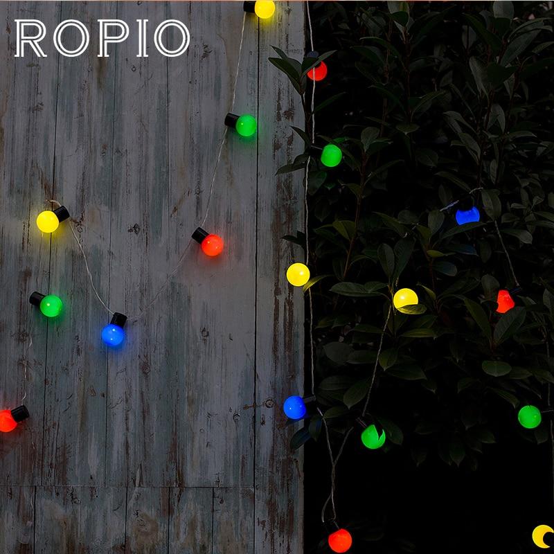 ROPIO 5M 20 LED Globe Festoon String Light Outdoor Waterproof LED Ball Fairy Lights Christmas Garland Wedding Party Garden Decor waterproof 5m 16ft led string ball lights curtain garland for fairy wedding garden new year outdoor christmas holiday decor