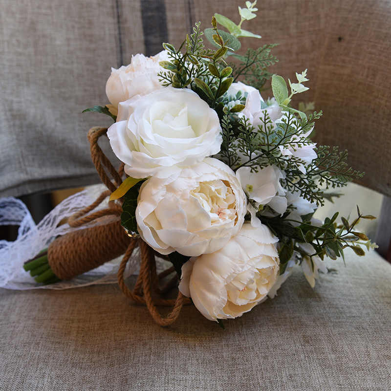 680eb1591061e Korean Wedding Bouquets Peony Artificial Flowers Wedding Photography  Accessories Bridesmaid Holding Flowers Valentine's Day Gift
