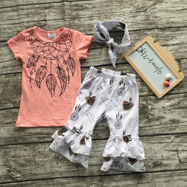 Meninas do bebê outfits meninas de verão conjuntos de roupas para crianças boutique dream catcher com headband correspondência