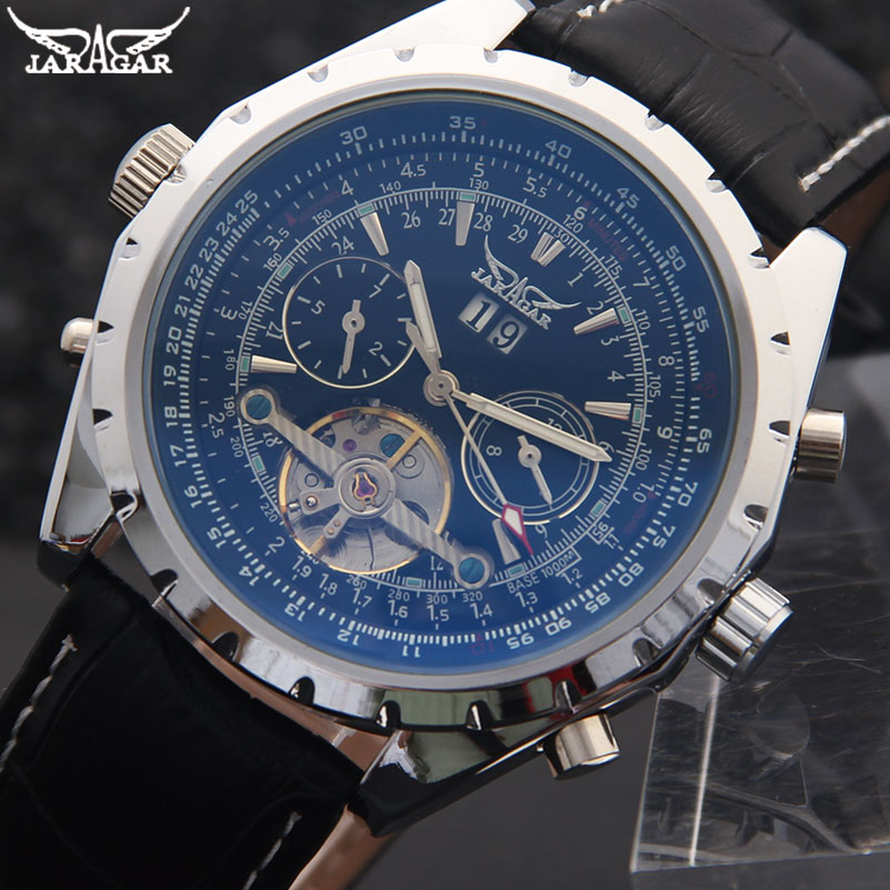 f41b8968305 Homens JARAGAR Tourbillon Automatic Men Mecânica Relógios de Marca De Luxo  Relógios Pulseira de Couro Genuíno Preto Auto Data Relógios de Pulso