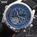 Homens relógios mecânicos Jaragar marca de luxo Turbilhão automático relógios pulseira de couro genuíno preto dos homens auto data relógios de pulso
