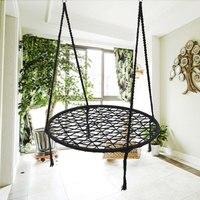 KiWarm Black Round Hammock Outdoor Indoor Dormitory Bedroom Children Swing Bed Kids Adult Swinging Hanging Single