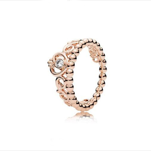 Authentic Rose Gold plated Ring 925 Sterling Silver jewelry My