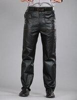 30 40 Men S Plus Size Genuine Leather Sheepskin Leather Pants Motorcycle Pants Straight Cotton Warm