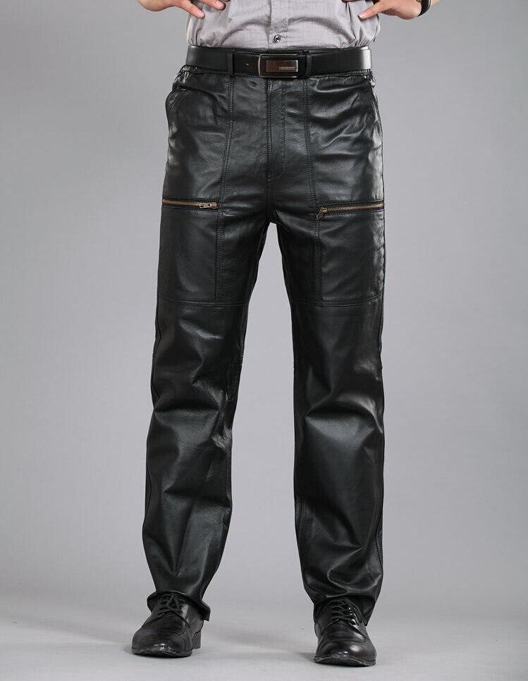 30-40! Männer Plus Größe Echtem Leder Schaffell Leder Hosen Motorrad Hosen Gerade Baumwolle Warme Schaffell Leder Hose