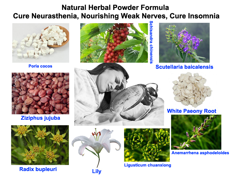 Natural Herbal Powder Formula Cure Neurasthenia Nourishing Weak Nerves InsomniaChina
