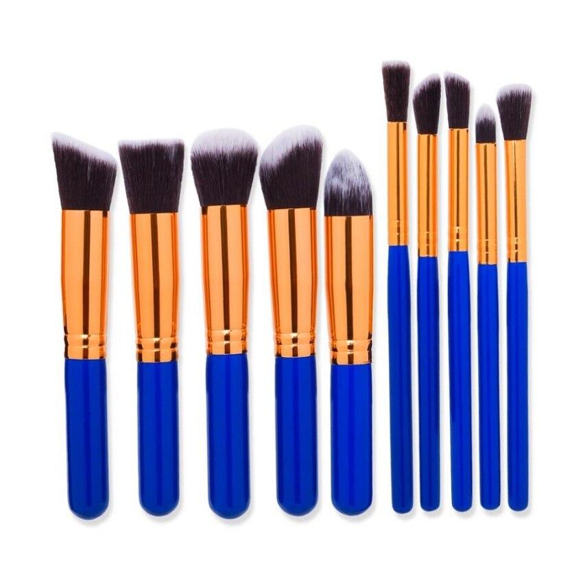 Fashion 10pcs Professional Makeup Brushes Set Foundation Blusher Eye Makeup Brushes Soft