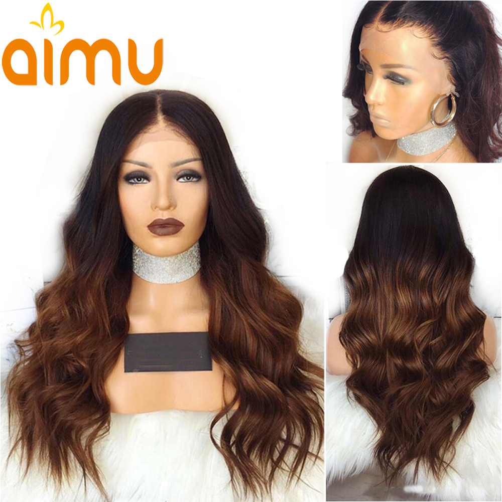 Aimu 13X6 Deep Part Ombre Lace Front Human Hair Wig With Baby Hair Body Wave 250 Density Peruvian Remy Wigs For Black Women-in High Density Lace Wigs from Hair Extensions & Wigs    1
