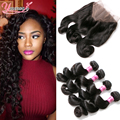 Malaysian Loose Wave With 360 Frontal 4 Bundles With  Frontal Closure 360 Lace Frontal Closure With Bundles 360 Lace Virgin Hair