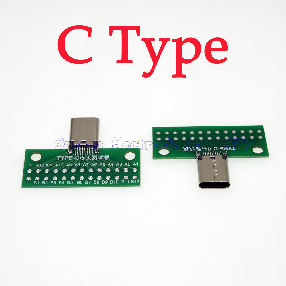 5pcs/lot USB 3.1 TYPE-C Female Test board USB 3.1 with PCB board 24P female test connector
