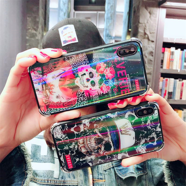 3D SKULL LUXURY TEMPERED GLASS IPHONE CASE (2 VARIAN)
