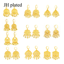 JHplated Africa Earrings for Women/Girl Arab Ethiopian Jewelry Gifts wedding Bride party earrings Middle East anniyo 65cm necklace and earrings for women gold colo arab middle east wedding jewelry qatar dubai saudi arabia gifts 088706