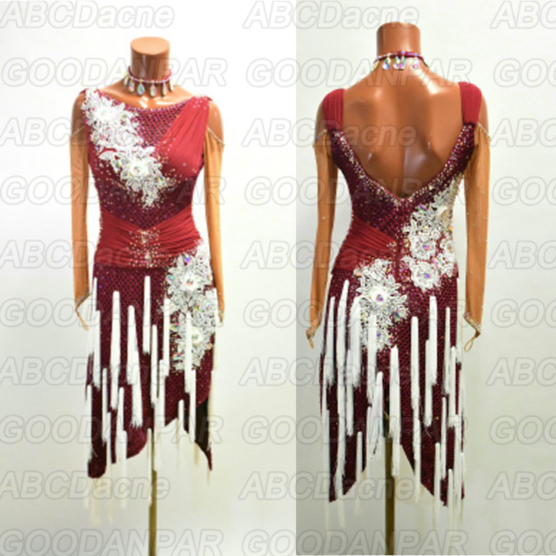 New Latin Dance Dress Women Sexy Tassel Lace Dress For The Dance Red Wine Dress For Ballroom Dancing Tango Dress 라틴댄스복