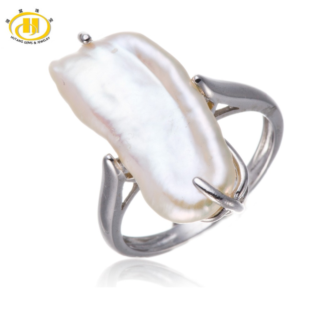 Buy Hutang Fine 925 Sterling Silver Freshwater Pearl Jewelry Ring Fine Fashion