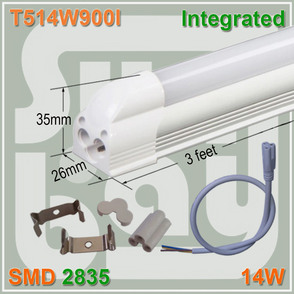 Free Shipping LED Integrated Tube T5 Bulb Light 3FT 14W 85-277V Surface Mounted Lamp 4 pack free shipping t5 integrated led tube 4ft 20w milky transparent cover surface mounted bulb comes with accessory 85 277v