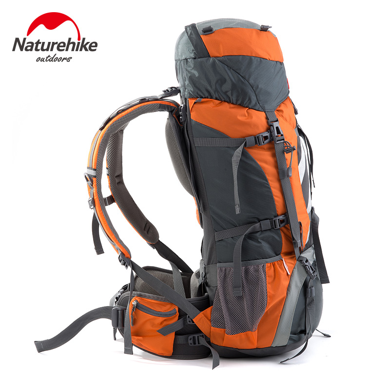 75L Outdoor Aluminum Rod Climbing Bag Professional Mountaineering Backpacks Waterproof Backpack Travel Hiking Bags Rain Cover